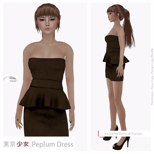 Tokyo.Girl Peplum Dress Leather Brown Ad